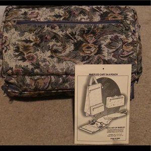 Vintage floral fold wheel luggage travel bag cart